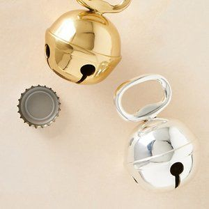 Anthropologie Jingle Bell Bottle Opener Silver